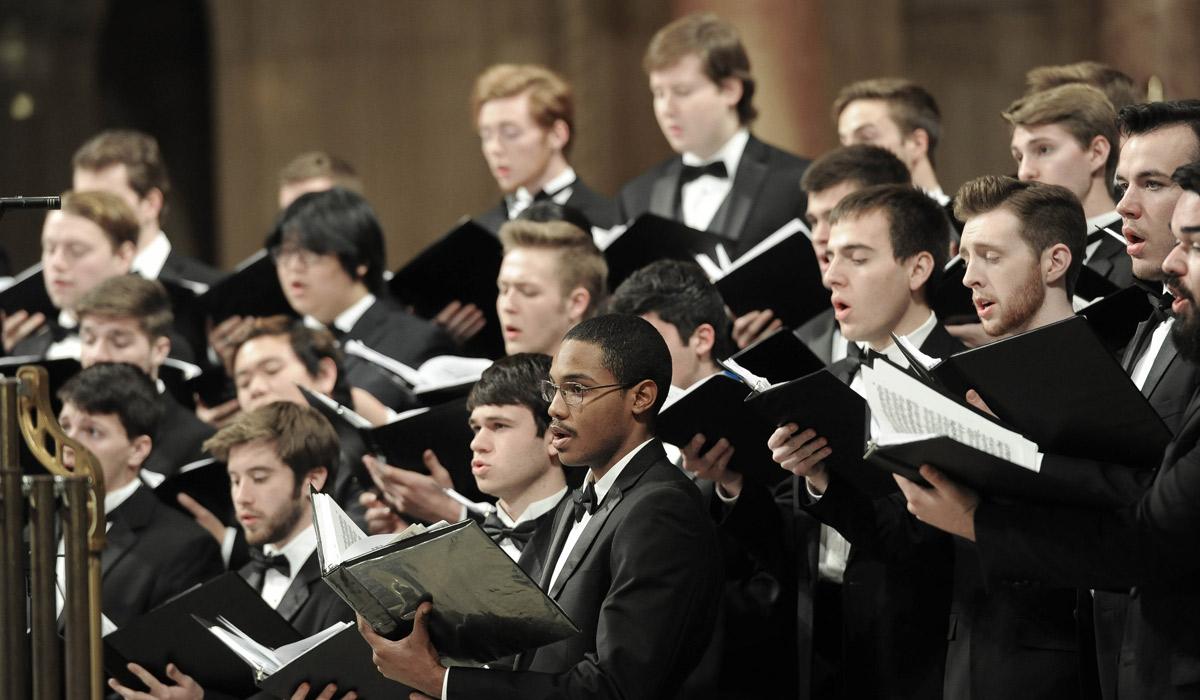 Chorus performing in concert dress