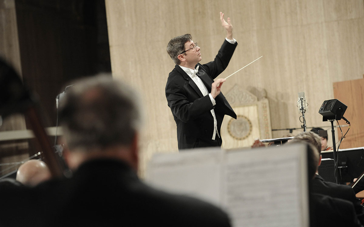 Conductor at concert