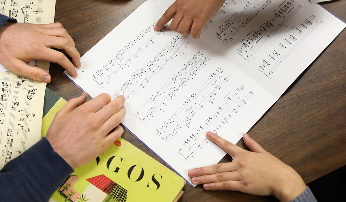 Students studying music